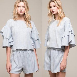 Anthropologie Moon River Ruffle Boxy Top Blue NWT